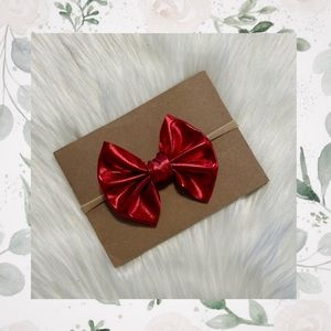 👑Metallic Red Clip In or Bow on Nylon!
